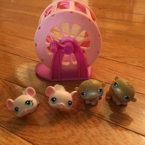 littlest pet shop Accessories - Littlest pet shop hamsters and mice with wheel